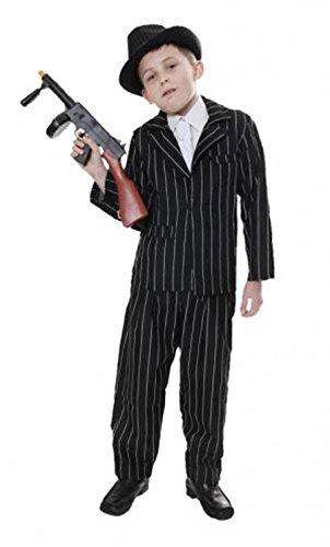 1920er Gangster Nadelstreifen schwarz Kind Kostüm Mafia Jungen Buch Woche Fancy ()