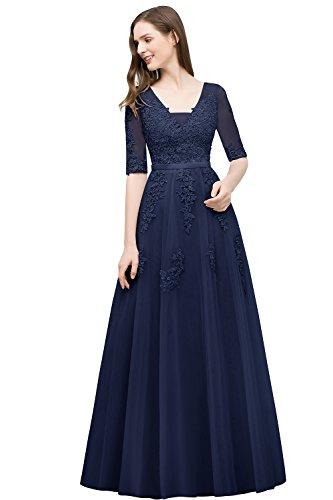 Misshow Ballkleid Damen Kleid Blau Elegant Abendkleider Lang V-Rückenfrei Tüll Konfirmation...