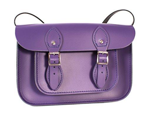 27,9 cm Violet foncé à fermeture magnétique Anglais en cuir véritable petit Oxbridge Sacoche – Rétro Mode Sac