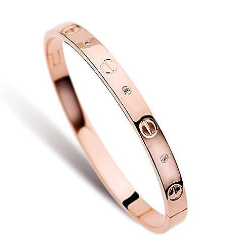 LUXEFUL® - Bracelet Bangle Love Stainless Steel Men & Women (Rose Gold Diamond Men)