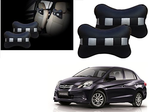 Autopearl - Premium Make Black & Silver CV Car Neck Rest Pillow For - Honda Amaze  available at amazon for Rs.399