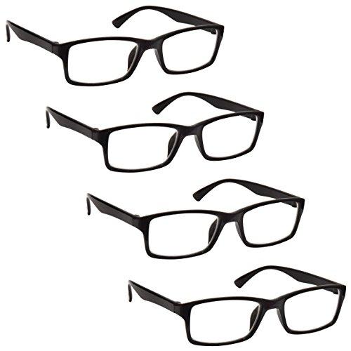 26c4233cd1 La Compañía Gafas De Lectura Negro Lectores Valor Pack 4 Hombres Mujeres  RRRR92-1 Dioptria