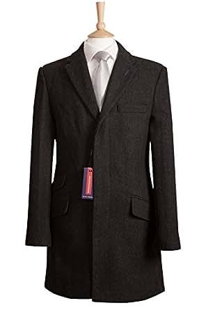 """Mens charcoal grey herringbone wool blend coat coats s m l xl xxl 36 38 40 42 44 46 48 (Medium fits 38""""-40"""")"""