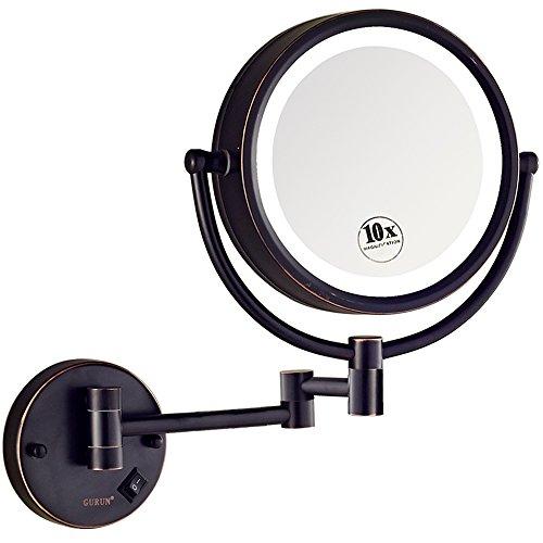 GURUN Kosmetikspiegel mit LED Beleuchtung und 1-/ 5-facher Vergrößerung aus Kopper, Doppelseitig, Rostfrei, Schminkspiegel Beleuchtet für Badezimmer, Oil-rieb Bronze, Ohne Stecker