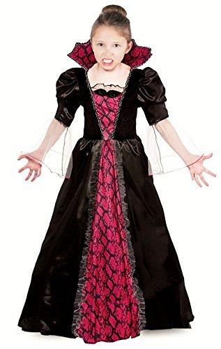 Vampir Kostüm Kinder Vampirkleid für Kinder Halloween - Vampir Kostüm Mädchen Halloween rot-schwarz (122/128)