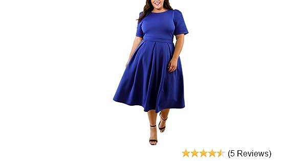 0f7a86a1b2fc5c BIUBIU Damen Vintage 50er Retro Rockabilly Kleid Knielang Abendkleider  Große Größen Blau DE 42-44: Amazon.de: Bekleidung
