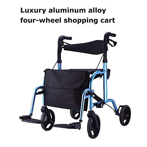SUN RNPP Rollatoren Rollator Walker Drive Medical mit Vier rädern und medizinischem Aluminium im europäischen Stil, faltender gefüllter Sitz-Rollstuhl, blau -