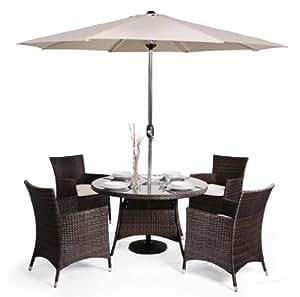 rattan gartenm bel set lugo mit sonnenschirm braun. Black Bedroom Furniture Sets. Home Design Ideas