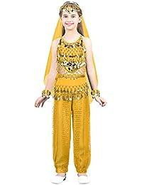 19661099fec0 inlzdz Robe Danse du Ventre Fille Costume Classique Danse Top+Sarouel+ Ceinture+Ornement de la Tête+Foulard+Bracelets Oriental Belly Dance Jaune…