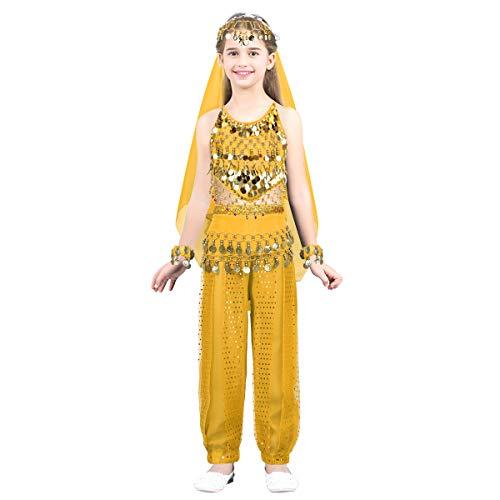 dPois Mädchen Bauchtanz Kostüm Tanzkleidung Indianer Kostüm Kleinkind Bekleidungsset Dancewear Gymnastikanzug Cosplay Party Gr.104-140 in Blau Rot Rose Gelb Gelb 110-116/5-6 Jahre
