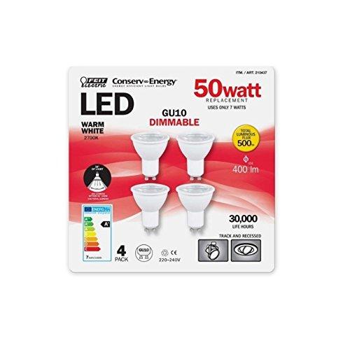 Feit Energiesparlampe Elektrische dimmbar 7Watt GU10LED Leuchtmittel, entspricht 50Watt-Halogen Leuchtmittel warm weiß 2700K, 30.000Stunden Lebensdauer, Total 500lm, LED Strahler, LED Leuchtmittel, 4Stück Einheiten, 220–240V/50/60Hz [Energieeffizienzklasse A +] (Feit Glühbirnen)
