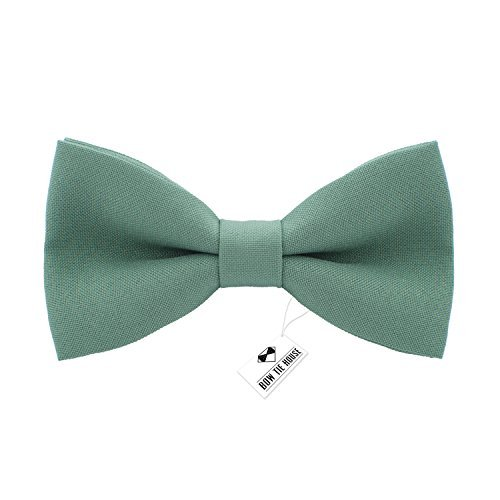 Bow Tie House Classic Pre-Tied Bow Tie Formal Solid Tuxedo, by (Medium, Green Fern) (Tie Bow Green)