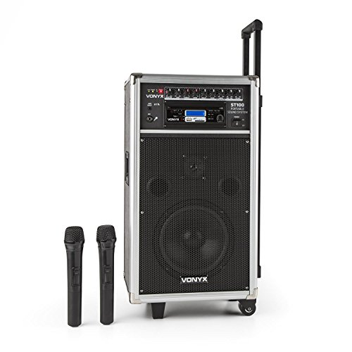 vonyx ST-100 MK2 Sound-System PA Notebook Bluetooth (250 W Leistung, CD-Player USB SD MP3, 2 Funkmikrofone)