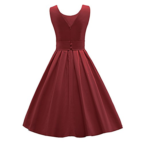 LUOUSE Sommer Damen Ohne Arm Kleid Dress Vintage kleid Junger abendkleid,WineRed,L - 3