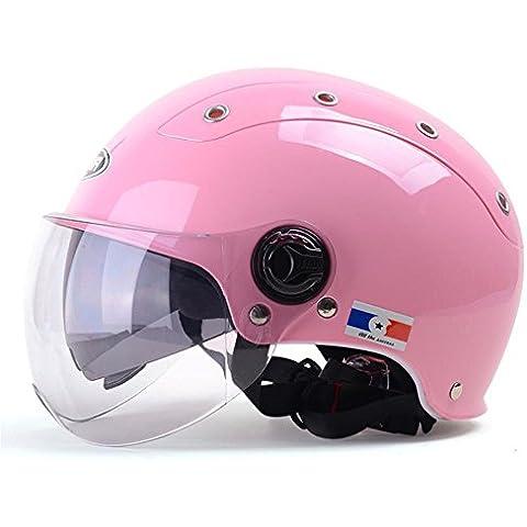 Coche eléctrico Casco Hombres y Damas Mitad Cubierta motocicleta casco estaciones de doble lente, rosa