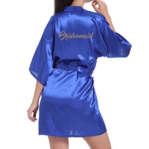 Hibote Hochzeit Brautjungfer Robe Short Kimono Robe Nacht Robe Bademantel Fashion Dressing Kleid für Frauen Borland M