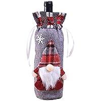 Hosaire 1x Bolsa para Botella,Hombre del Bosque Estilo Navidad Botella de Vino Bolsas Inicio Decoración Mesa Decoración Decoración Bolsa Size 14 * 32CM (Gris)