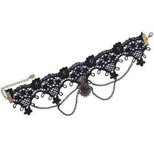 Yazilind Jewelry Schmuck Gothic Lolita Damen Halskette Schwarz (Glücksbringer) (Einfach Maleficent' Kostüm)