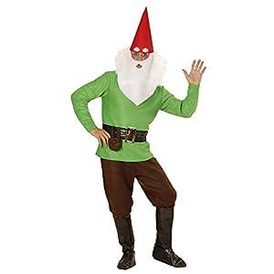 WIDMANN 01353?Adultos Disfraz Enano, chaqueta, pantalones, cinturón con funda, zapatos überzieher, sombrero con orejas, Cejas y barba, Verde