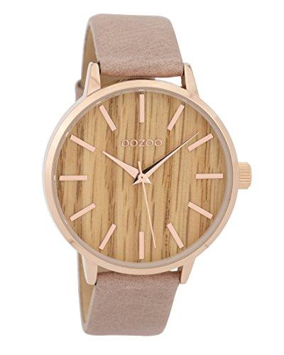 Oozoo Damenuhr mit Lederband Wood Holz Zifferblatt 42 mm Rose/Holz/Pinkgrau C9251
