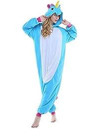 JYSPORT Unicornio Pijama Cosplay Disfraces Animal Ropa Carnaval Halloween Navidad Pijama (unicornio azul, S