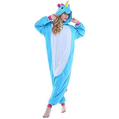 JYSPORT Unicornio Pijama Cosplay Disfraces Animal Ropa Carnaval Halloween Navidad Pijama (unicornio azul, S: se adapta a la altura 58.26 - 62.2 inch)