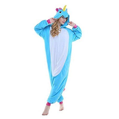 Jysport Combinaison pyjama en polaire à capuche, unisexe, pour enfants, hommes et femmes, motif animal, Bleu licorne