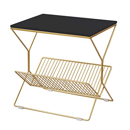 Table Basse De Haute Qualité en Métal Canapé Table D'appoint Table Basse Stable Antidérapant Salon Canapé Table D'appoint Simple Table Basse (Color : Black, Size : 50 * 50 * 36cm)