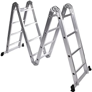Jago alu mehrzweckleiter verstellbar schiebeleiter for Escaleras aluminio amazon