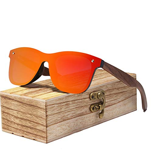 Zbertx Mens Sonnenbrillen polarisierte Walnuss Holz Spiegel Objektiv Sonnenbrille Frauen Bunte Shades Handmade,rot