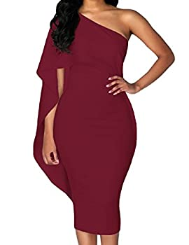 Lrud Ladies Off Shoulder Ruffles Batwing Cape Party Bodycon Midi Pencil Dresses 0