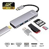 USB Hub C, Topoint 5 en 1 Tipo C Adaptador USB 3.1 a HDMI Adaptador 4K con 2 puertos USB 3.0 Lector de tarjetas SD / TF para nuevas MacBook / MacBook Pro 2015/2016/2017, Samsung S8 y más