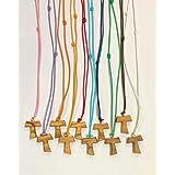 Tau in legno di ulivo con cordoncino colorato, croce di San Francesco d'Assisi 2,2 centimetri 20 pezzi pezzi con i 3 nodi Fra