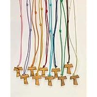 Tau in legno di ulivo con cordoncino colorato, 20 pezzi, croce di San Francesco d'Assisi 2,2 centimetri con i 3 nodi…