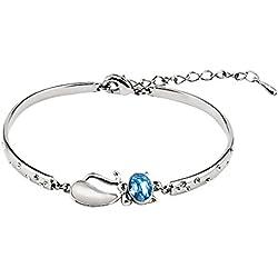 faysting EU joyas para mujer pulsera pulsera plata con Petra Azul BLING buen regalo
