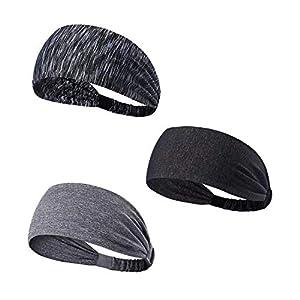 Tagvo Sport Stirnband, 3 Pack Elastisches Haarband Antirutsch Feuchtigkeitstransport Breites Stirnband Athletisches Schweißband für Männer und Frauen – Fit für Runing, Yoga, Radfahren, Basketball