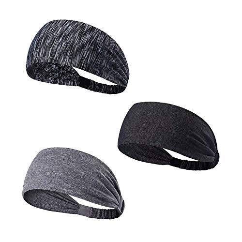 TAGVO Sport Stirnband, 3 Pack Elastisches Haarband Antirutsch Feuchtigkeitstransport Breites Stirnband Athletisches Schweißband für Männer und Frauen - Fit für Runing, Yoga, Radfahren, Basketball