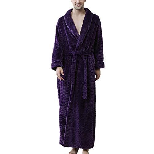 Albornoz para Hombre, Pijama con Cuello en V de Microfibra (100% poliéster), 2 Bolsillos, Cinturones - Albornoz Suave, Absorbente y cómodo para Hotel SPApúrpuraXL