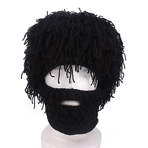 (MYJ-Male hat Handgemachte gestrickte Herren Winter häkeln Schnurrbart Hut Bart Hut Gesicht Quaste Fahrrad Ski Maske Hut lustige Hut (Farbe : SCHWARZ))