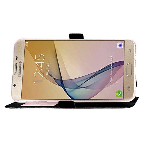 Für Samsung Galaxy J5 Prime Case Cover Horizontale Flip Stand Case mit transparenten Fenster & Karten Slots & Magnetic Closure ( Color : White ) Black