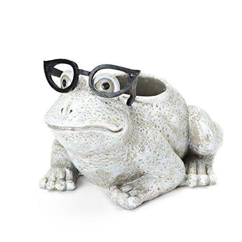 Unbekannt Römischer Exklusiver weißer Frosch mit Silly Black Brille Übertopf, 15,2 cm, aus Dolomit/Harz