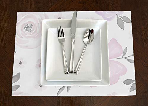 A LuxeHome Tischsets mit Blumenmuster, Shabby-Chic-Stil, Lavendel, Violett, Rosa, Grau und Weiß