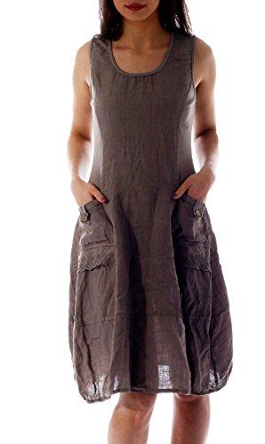 Damen Leinen Kleid ärmellos mit schönen Details (XL = 40, Fango Braun)
