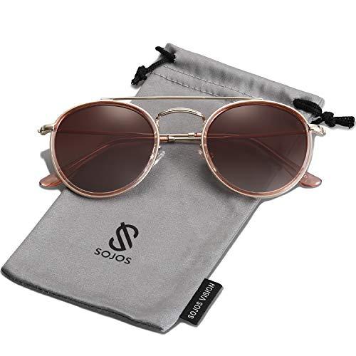 SOJOS Retro Metall Polarisiert Runde Sonnenbrille Damen Herren SJ1104 mit Gold Rahmen/Braun Linse