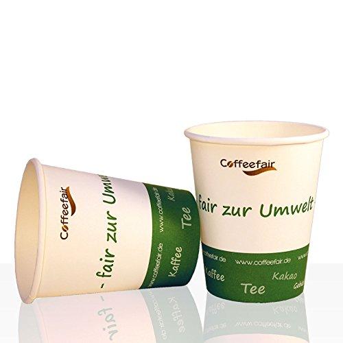 Bio Coffee to go Becher von Coffeefair Hartpapier 0,2l, 50Stk, Pappbecher, Kaffeebecher to go für...