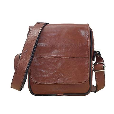 Koson Leather Echtes italienisches Kuh-Leder-handgemachte Schultaschen-Schulter-Handtaschen-Kurier-Beutel