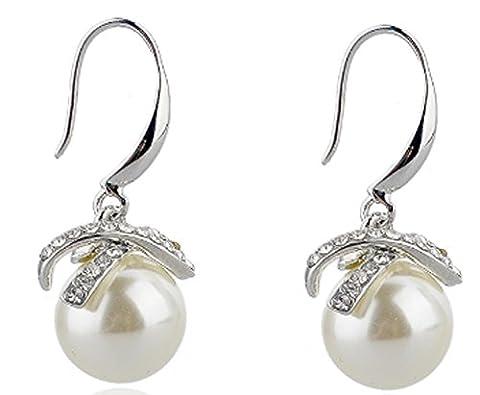 SaySure - Earings Simulated Pearl Jewelry Crystal Drop Earrings