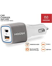Moosh Car Charger Smart Power Type C PD 18W & Quick Charger QC 3.0 Dual USB Port Car Charger/Adapter with LED (White)
