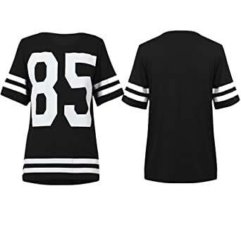 O88 NEW WOMENS OVERSIZE TOP LADIES NUMBER PRINT SHORT SLEEVE VARISTY T-SHIRT (M/L (UK 12-14), BLACK)