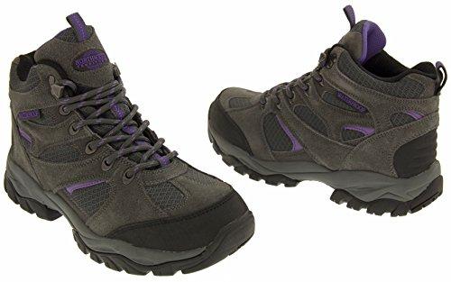 Northwest Territory Bout Fermé Femmes Suède Imperméables Chaussures de Marche robustes Gris et violet